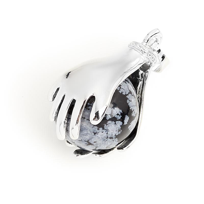 Кулон обсидиан снежный США (биж. сплав) 3,5 см