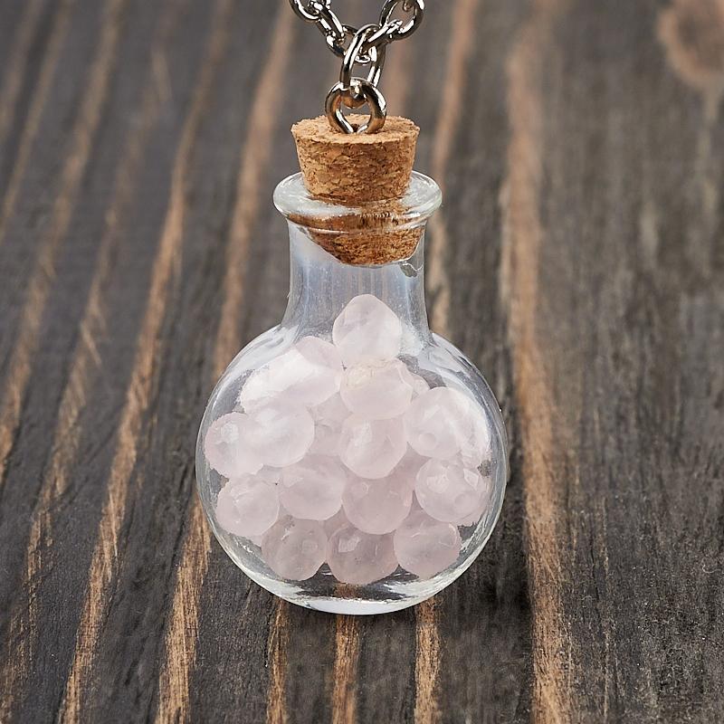 Фото - Кулон розовый кварц (биж. сплав) бутылочка огранка 3,5 см кулон опал благородный белый биж сплав бутылочка огранка 3 см