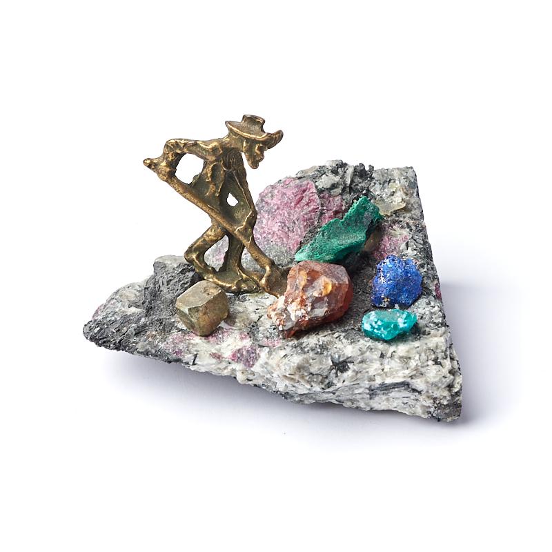 Фото - Минералогическая композиция микс азурит, гранат, малахит (латунь) 5 см филин малахит 4 5 см