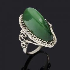 Кольцо нефрит зеленый Россия (нейзильбер) размер 15,5