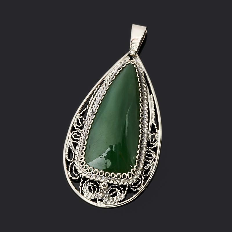 Кулон нефрит зеленый (нейзильбер) капля