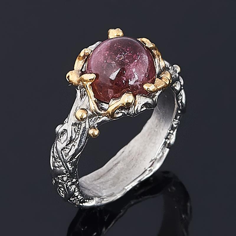 Кольцо турмалин розовый (рубеллит) (серебро 925 пр. позолота, родир. сер.) размер 17 кольцо розовый кварц серебро 925 пр позолота размер 17 5