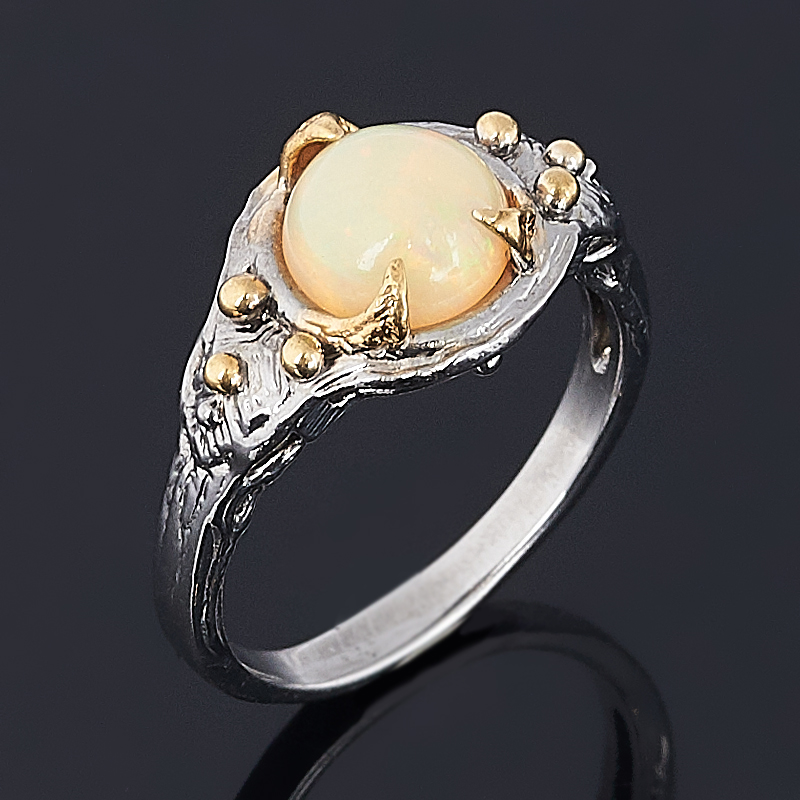 Кольцо опал благородный желтый Эфиопия (серебро 925 пр. позолота, родир. сер.) размер 18