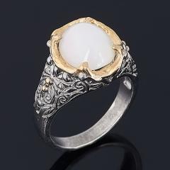 Кольцо опал благородный белый Эфиопия (серебро 925 пр. позолота, родир. сер.) размер 18,5