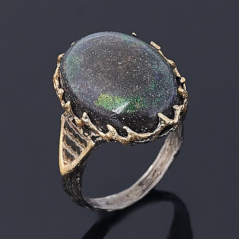 Кольцо опал благородный черный (серебро 925 пр. позолота, родир. черн.) размер 16
