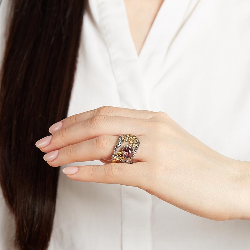 Кольцо турмалин розовый (рубеллит) Бразилия (серебро 925 пр. позолота, родир. сер.) размер 18,5