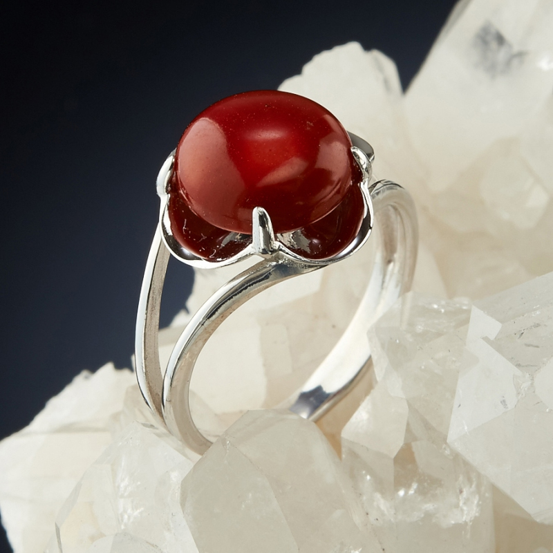 [del] Кольцо коралл красный Индонезия (серебро 925 пр.) размер 18