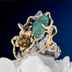 Кольцо опал благородный черный Австралия (серебро 925 пр. позолота, родир. сер.) размер 18,5