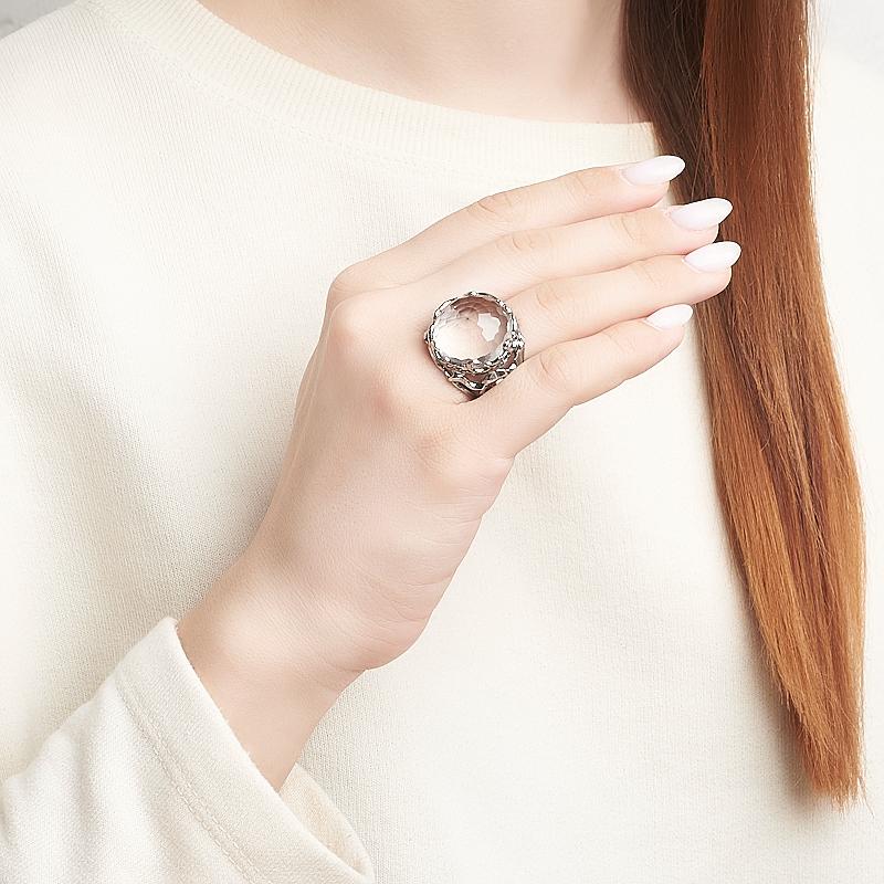Кольцо горный хрусталь Бразилия (серебро 925 пр. оксидир.) огранка размер 18,5