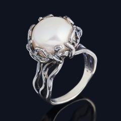 Кольцо жемчуг серый Гонконг (серебро 925 пр. оксидир.) размер 17
