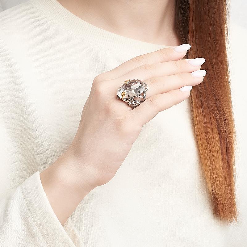 Кольцо горный хрусталь Бразилия (серебро 925 пр. позолота, родир. сер.) огранка размер 17,5