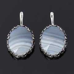 Серьги агат серый Ботсвана (серебро 925 пр. оксидир.)