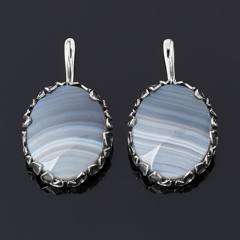 цена Серьги агат серый (серебро 925 пр. оксидир.) онлайн в 2017 году