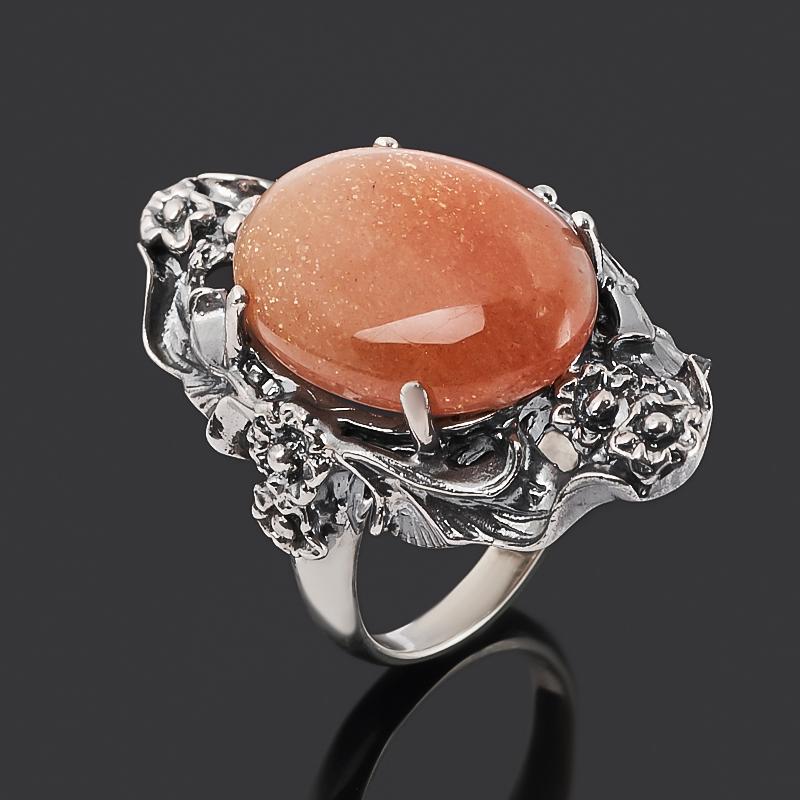 Кольцо солнечный камень Индия (серебро 925 пр. оксидир.) размер 18,5