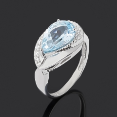 Кольцо топаз голубой Бразилия (серебро 925 пр. родир. бел.) огранка размер 17,5