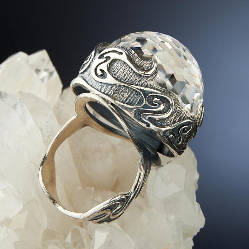 [del] Кольцо горный хрусталь Бразилия огранка (серебро 925 пр.) размер 19