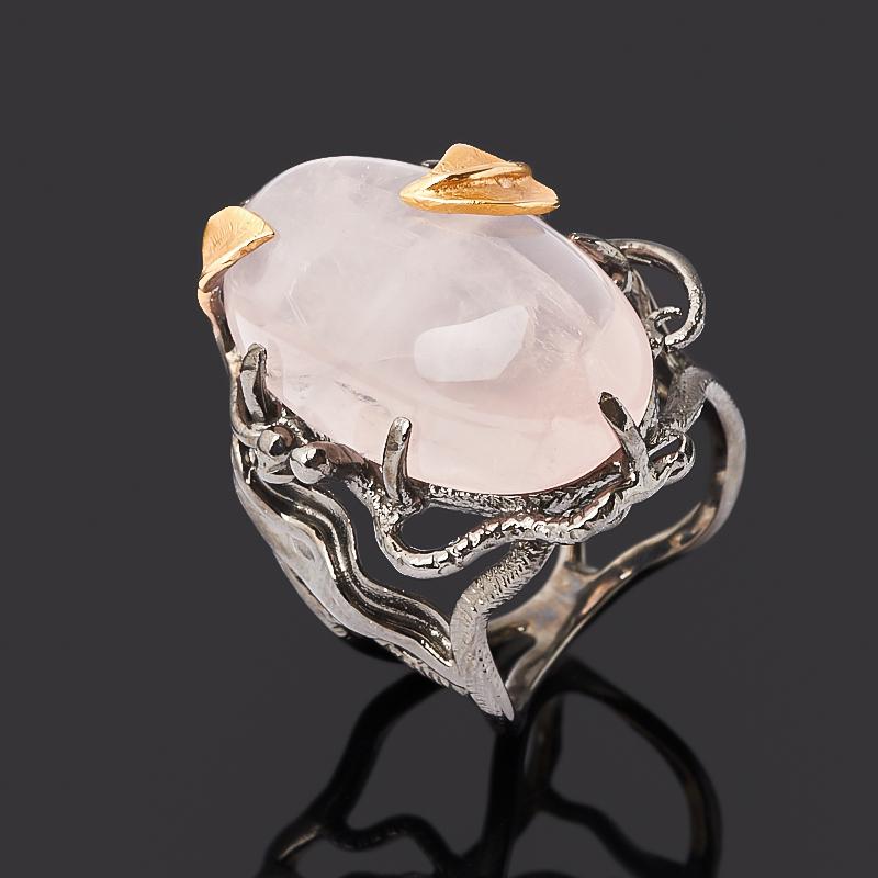 Кольцо розовый кварц (серебро 925 пр. позолота, родир. черн.) размер 18 кольцо розовый кварц серебро 925 пр позолота размер 17 5