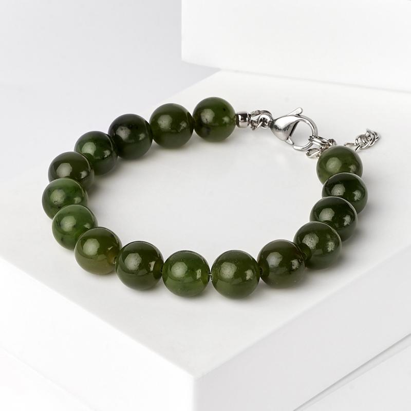 Браслет нефрит зеленый (биж. сплав, сталь хир.) 10 мм 18 см (+3 см)