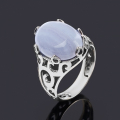 Кольцо агат голубой Намибия (серебро 925 пр. оксидир.) размер 18,5
