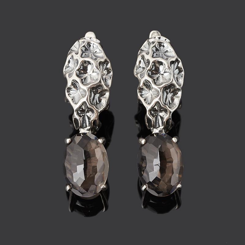 Серьги раухтопаз (серебро 925 пр. оксидир.)