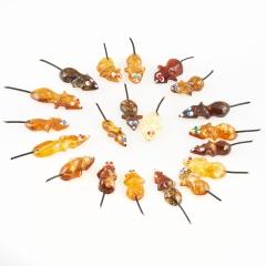 Денежный талисман янтарь Россия (мышь кошельковая) 3 см