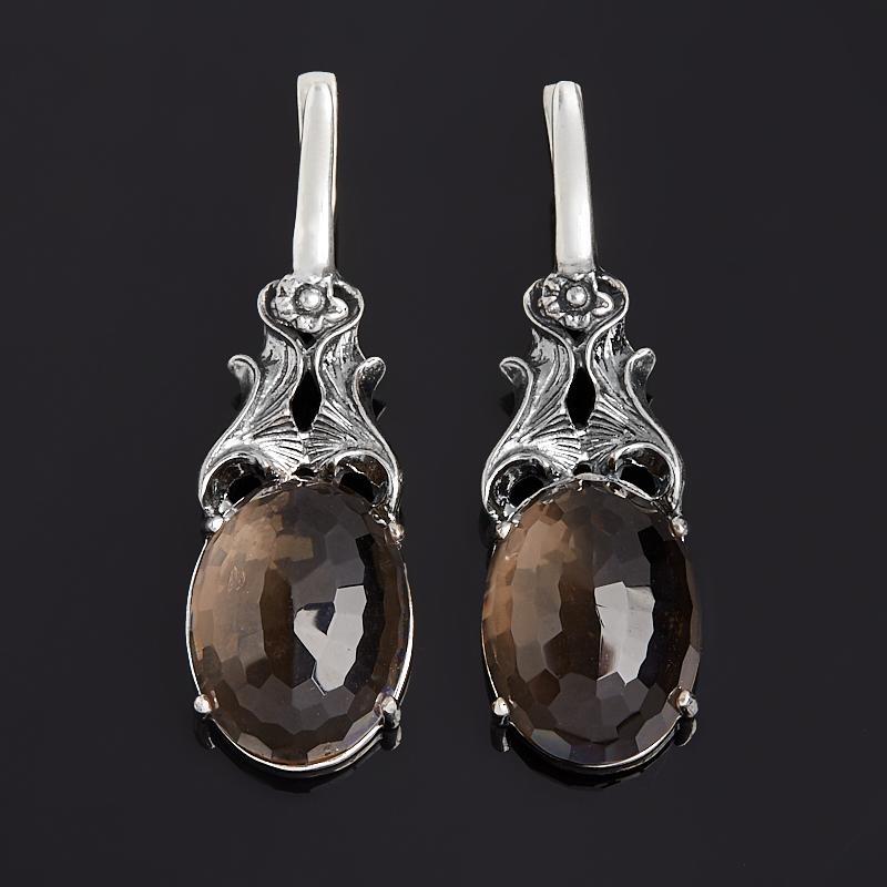 Серьги раухтопаз (серебро 925 пр. оксидир.) огранка