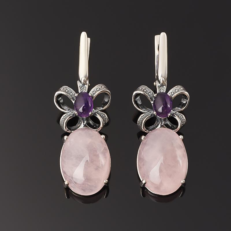 Серьги микс аметист, розовый кварц (серебро 925 пр. оксидир.)