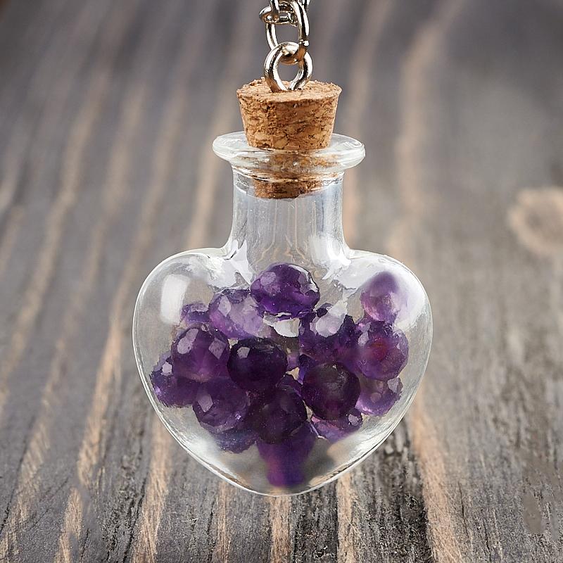 Фото - Кулон аметист (биж. сплав, стекло) бутылочка огранка 3,5 см кулон опал благородный белый биж сплав бутылочка огранка 3 см