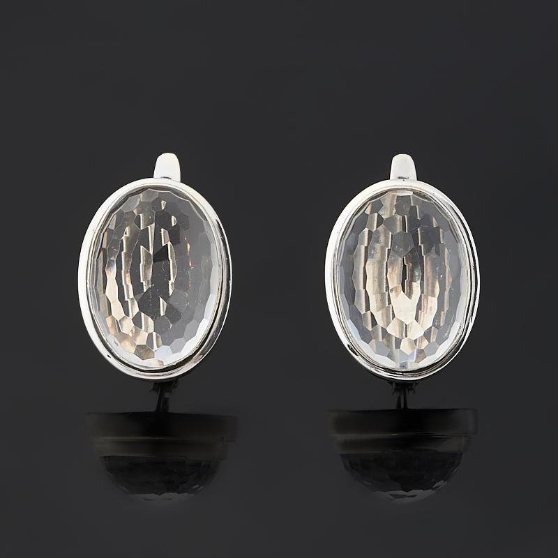 Серьги горный хрусталь (серебро 925 пр.) огранка