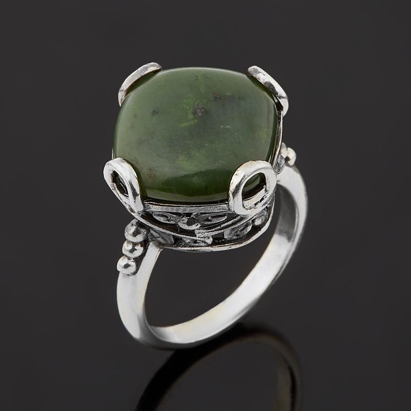 Кольцо нефрит зеленый  (серебро 925 пр. оксидир.) размер 18
