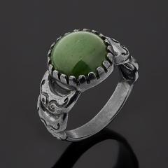 Кольцо нефрит зеленый Россия (серебро 925 пр. родир. черн.) размер 18,5