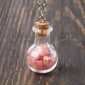 Кулон родохрозит Аргентина (биж. сплав) бутылочка 3,5 см