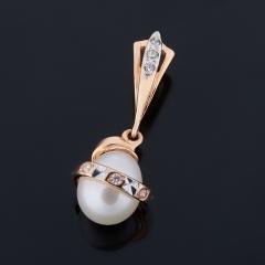 Кулон жемчуг белый Гонконг (серебро 925 пр. позолота)