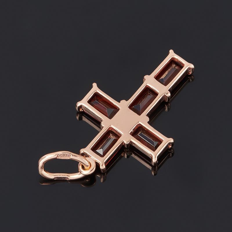 Кулон гранат альмандин Индия крест огранка (серебро 925 пр. родир. бел. позолота)