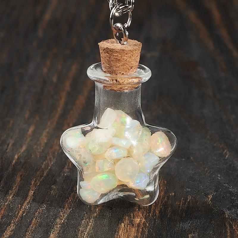 Кулон опал благородный белый (биж. сплав) бутылочка огранка 3,5 см образец опал благородный белый 1 1 5 см