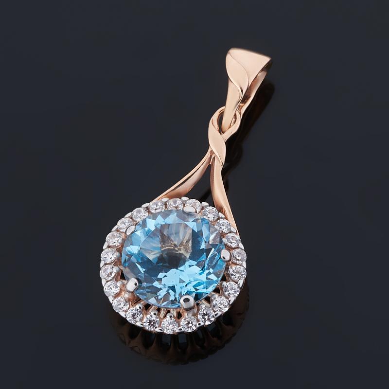 Кулон топаз голубой Бразилия огранка (серебро 925 пр. позолота)