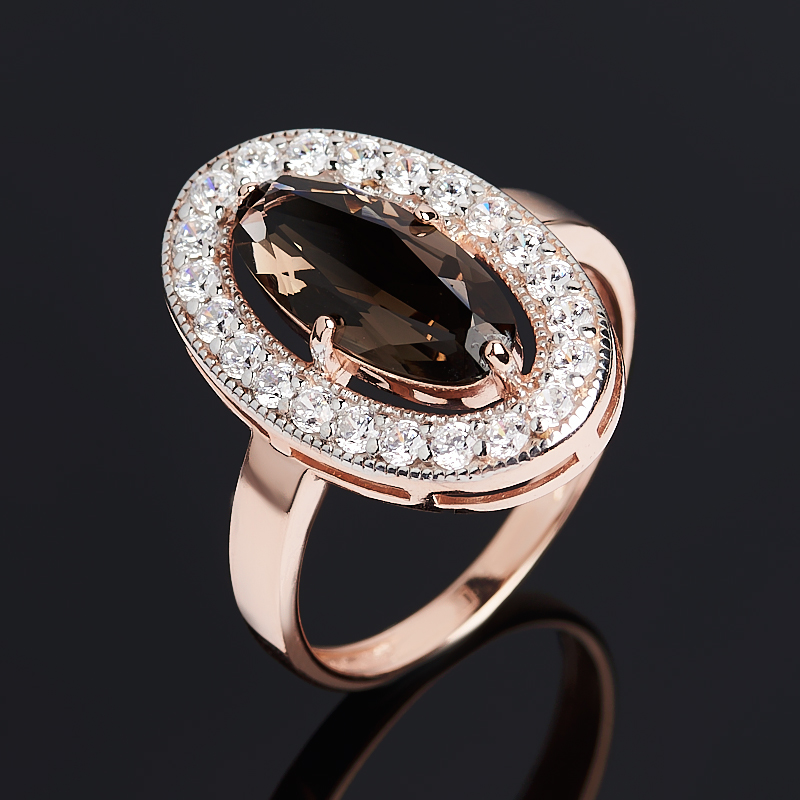 Кольцо раухтопаз (серебро 925 пр. позолота) огранка размер 18