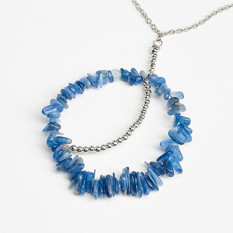 Кулон кианит синий (биж. сплав) 8,5 см