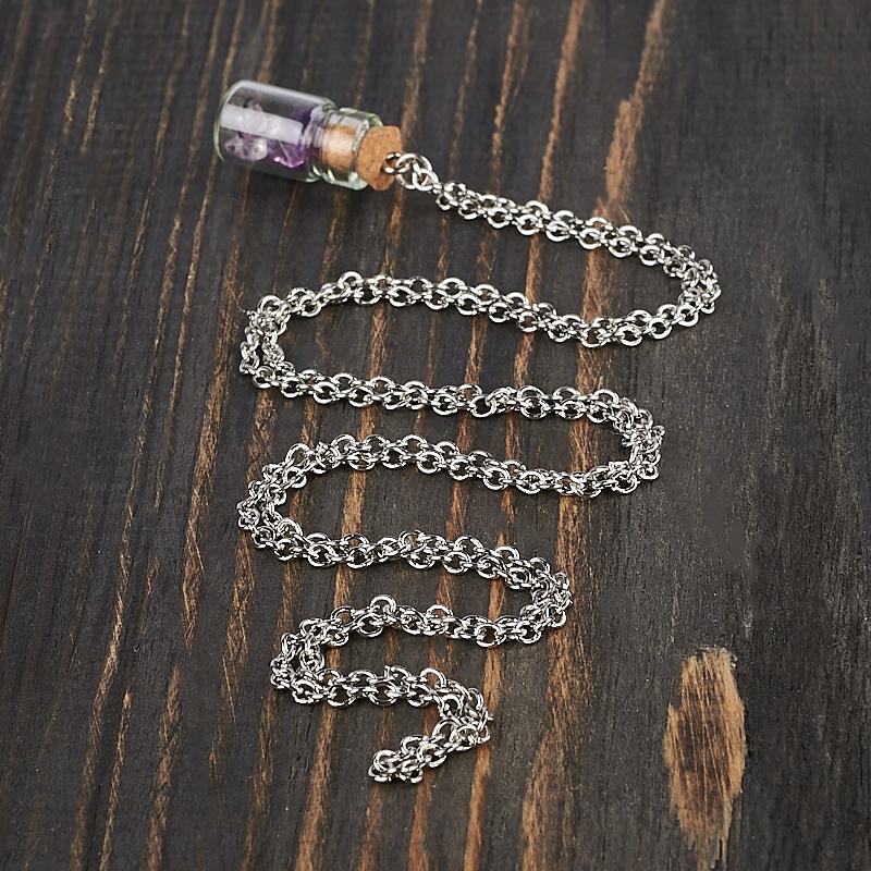 Кулон аметист Бразилия (биж. сплав, стекло) бутылочка 2,5 см