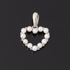 Кулон жемчуг белый Гонконг (серебро 925 пр.) сердечко