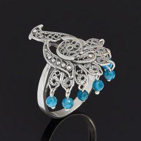 Кольцо апатит синий Бразилия (серебро 925 пр. оксидир.) огранка размер 18,5