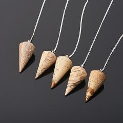 Маятник яшма рисунчатая (песочная) Намибия (биж. сплав, сталь хир.)