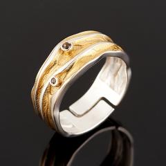 Кольцо раухтопаз Бразилия (серебро 925 пр. позолота, родир. бел.) огранка (регулируемый) размер 17,5