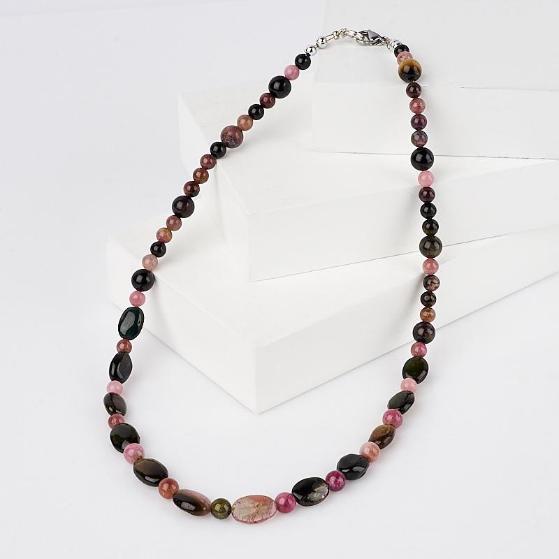 Бусы турмалин зеленый (верделит) коричневый (дравит) полихромный розовый (рубеллит) черный (шерл) 45 см (биж. сплав)