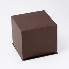 Подарочная упаковка (картон) под комплект (кольцо, серьги) (коробка) (коричневый) 85х85х78 мм
