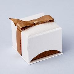 Подарочная упаковка (картон) под кольцо/серьги (коробка) (бежевый) 50х50х40 мм