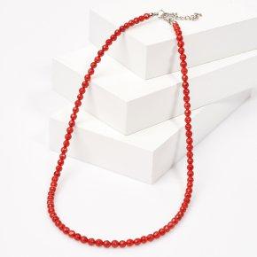 Бусы коралл красный Индонезия (биж. сплав, сталь хир.) огранка 4 мм 49 см (+7 см)