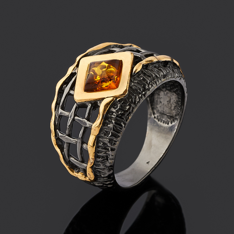 Кольцо янтарь (серебро 925 пр. позолота, родир. черн.) размер 18