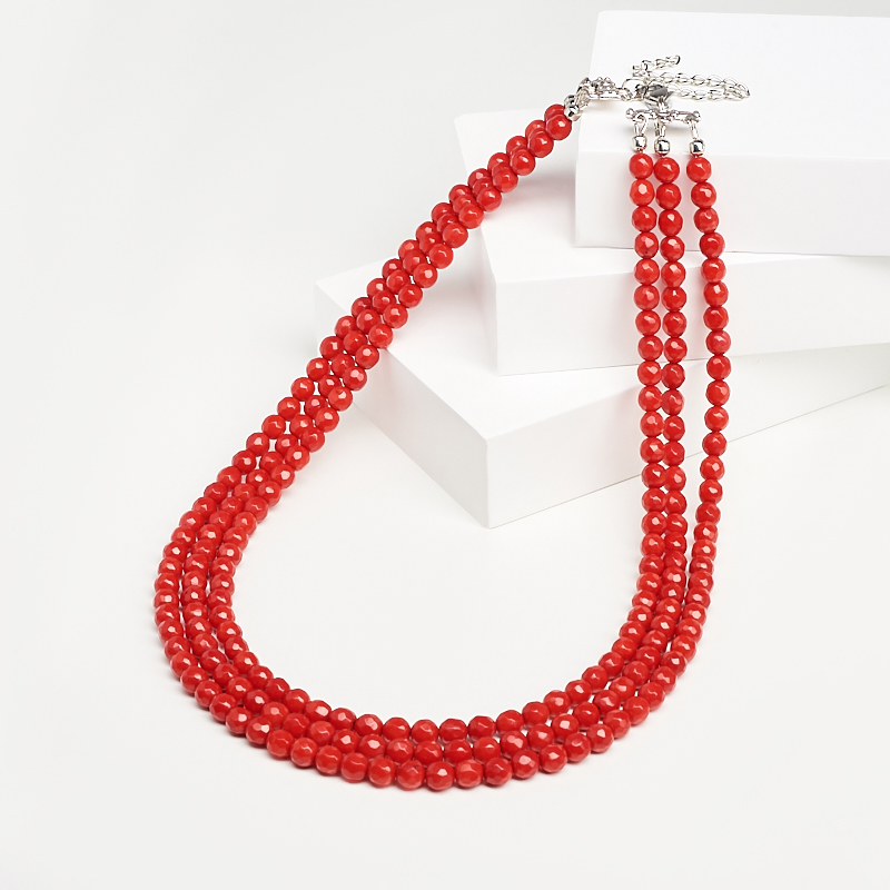 Бусы коралл красный (биж. сплав, сталь хир.) 5 мм 46 см (+7 см)