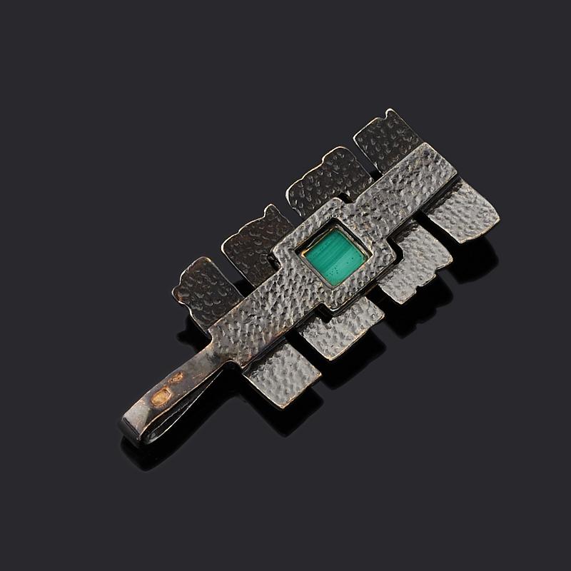 Кулон малахит Конго (серебро 925 пр. позолота, родир. черн.)
